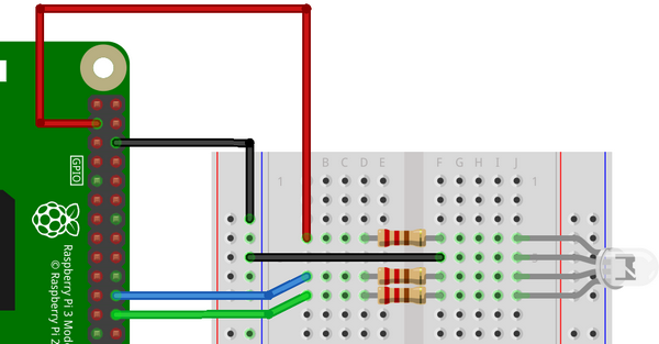 Connexion de la LED RGB cathode commune aux GPIO du Raspberry Pi - Dessin Fritzing - François MOCQ - CC BY NC SA