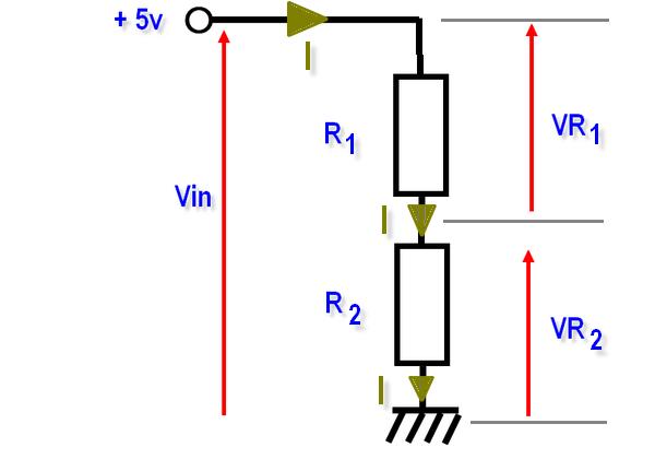 Pont diviseur composé de 2 résistances