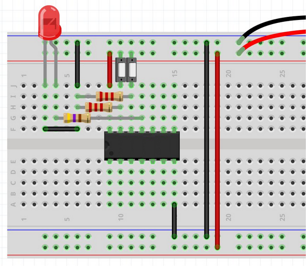 Breadboard avec composants. Image https://www.hobbyelectronics.net/breadboard_1-logic---basic-gates.html