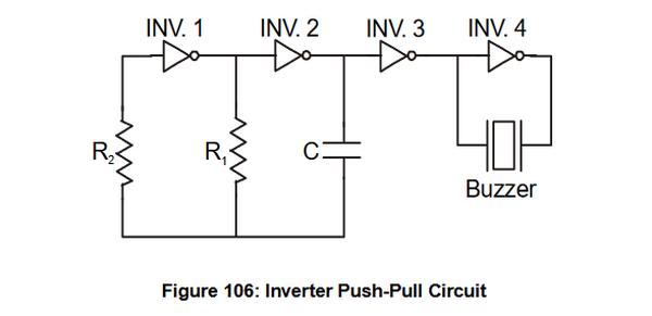 Oscillateur à portes logiques pour buzzer piézoélectrique