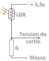 Connexion d'une photorésistance LDR avec un pont diviseur de tension