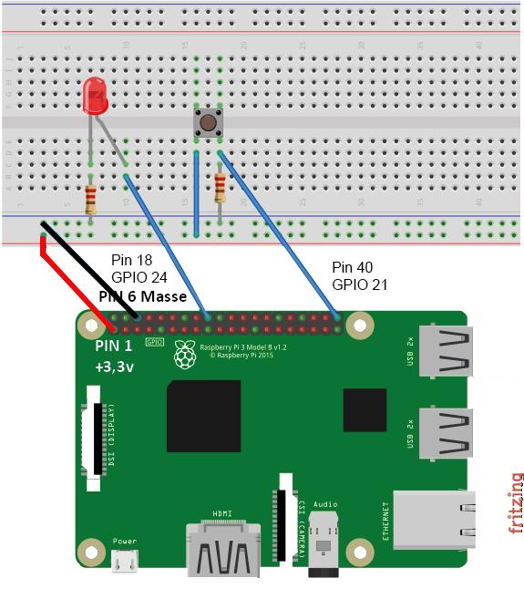 Connexion d'un bouton poussoir et d'une LED au Raspberry Pi