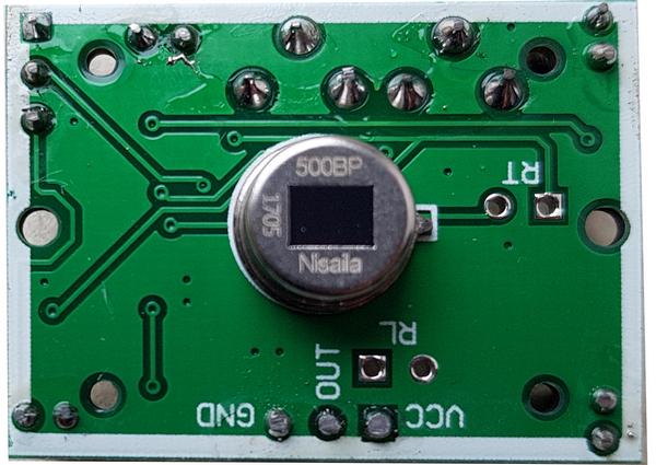Module HC-SR501 - Vue de dessus, lentille enlevée - Photo Francois MOCQ