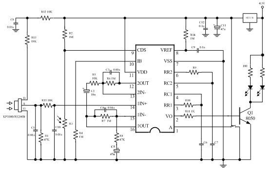 HC-SR501 Schéma avec capteur PIR et BISS0001