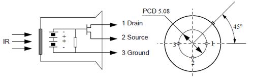 Détecteur PIR 500BP  connectique brochage