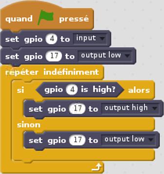 Programme de test écrit en Scratch pour tester le module détecteur de présence infrarouge PIR HC-SR501 sur le Raspberry Pi