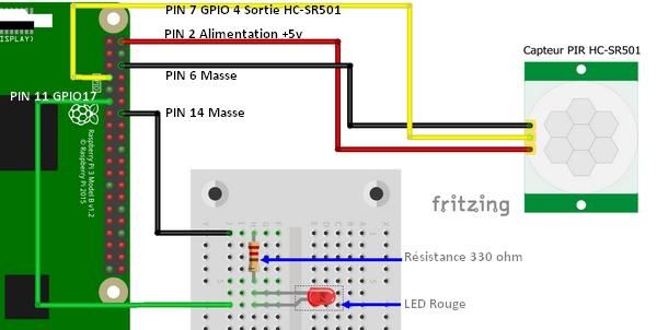 Connexion du module détecteur PIR HC-SR501 au GPIO du Raspberry Pi