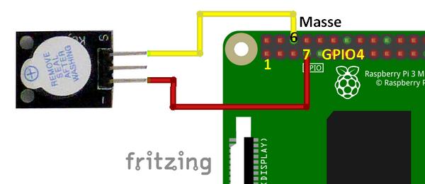 Connexion du module buzzer Keyes KY-012 au GPIO 4 du Raspberry Pi - Mise en route du buzzer avec Scratch