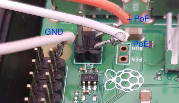 Connexion du module LM2596 sur le port PoE du Raspberry Pi