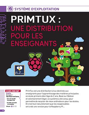 """Article sur PrimTux, paru dans la revue """"L'officiel PC Raspberry Pi"""" N° 6"""