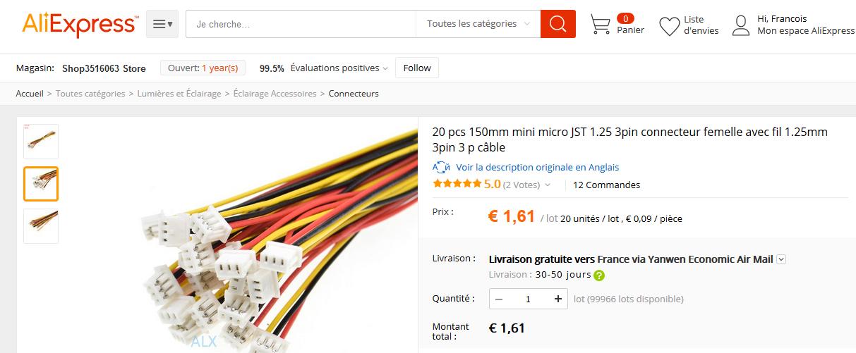 câbles JST 1,25mm pour la carte Suptronics X100