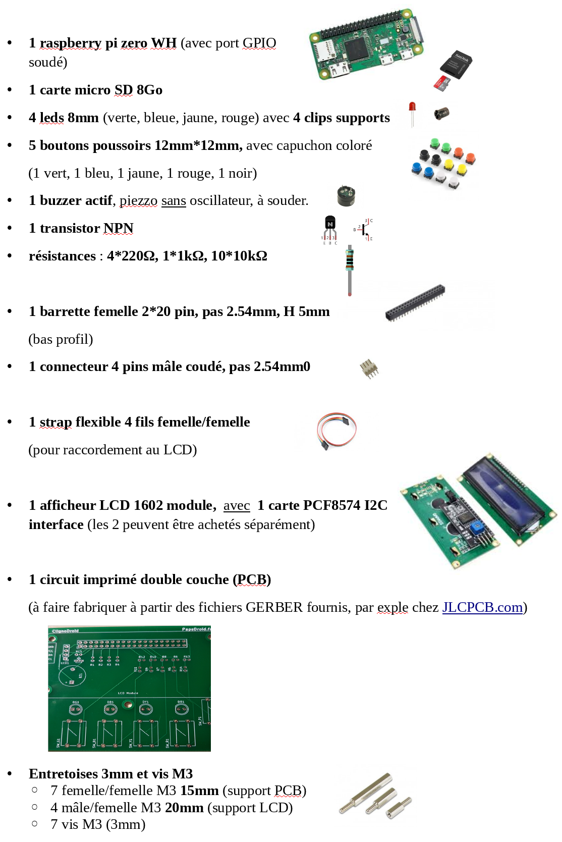 Composants pour la construction du jeu ClignoDroïd
