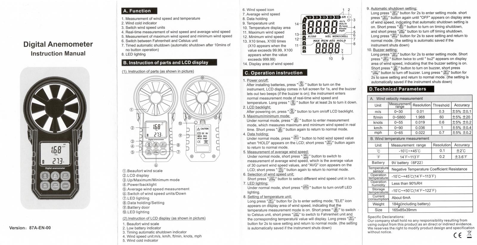 Notice d'utilisation Anémomètre Numérique 87A-EN-00 de Cafago