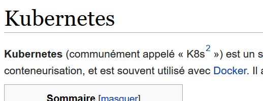 Page Kubernetes de Wikipedia