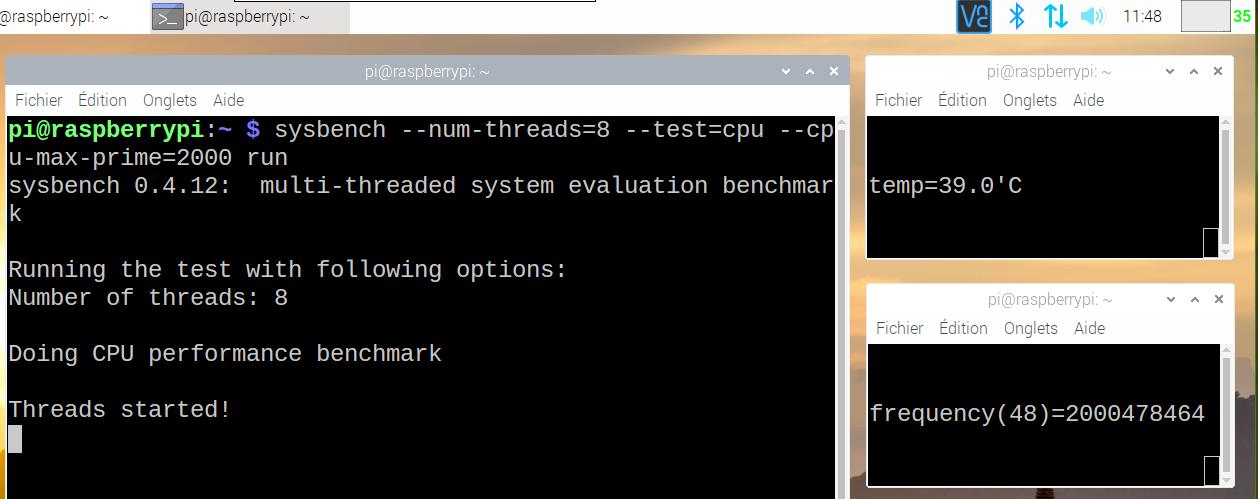 Copie d'écran du Raspberry Pi 4 pendant le test des nombres premiers. Fréquence affichée : 2GHz