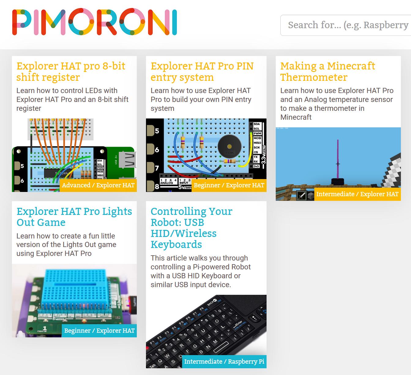 Pimoroni projets Explorer HAT Pro