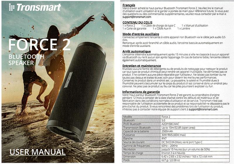 Notice d'utilisation - User Manual - Tronsmart Force 2 speaker enceinte