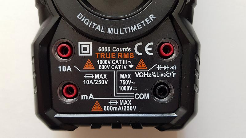 multimètre automatique KKMOON HT118A bornes d'entrée