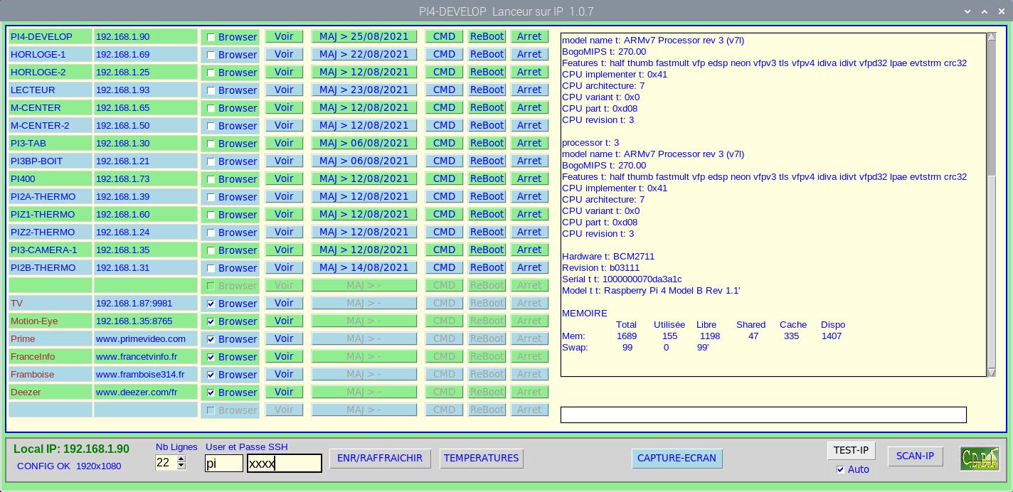 ScreenShot du lanceur en cours d'utilisation